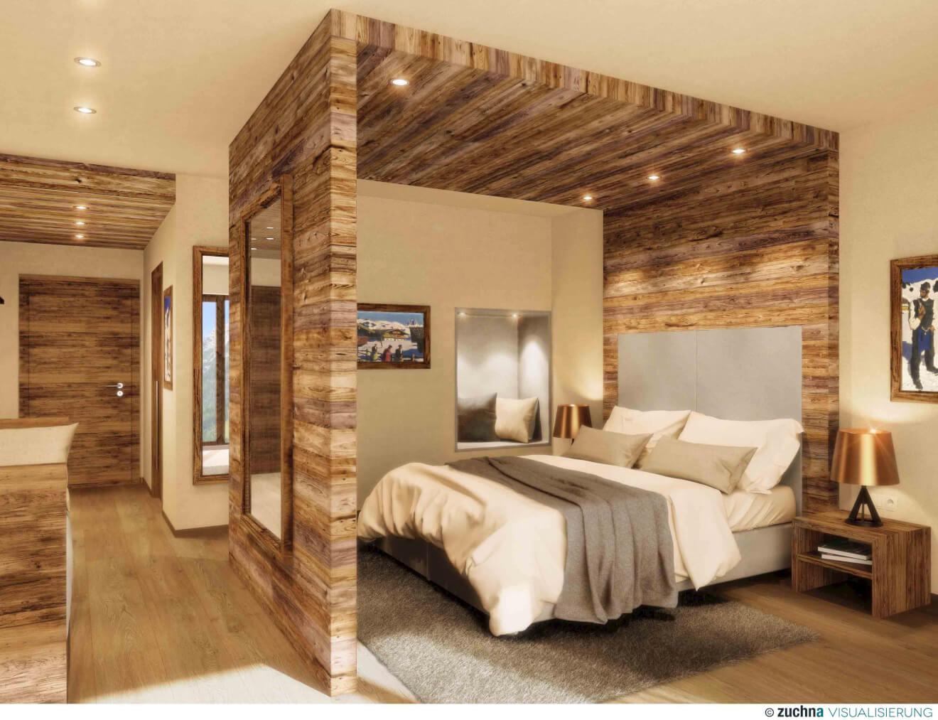 Viel Holz: Die Zimmer im Puradies werden edel, aber gemütlich.