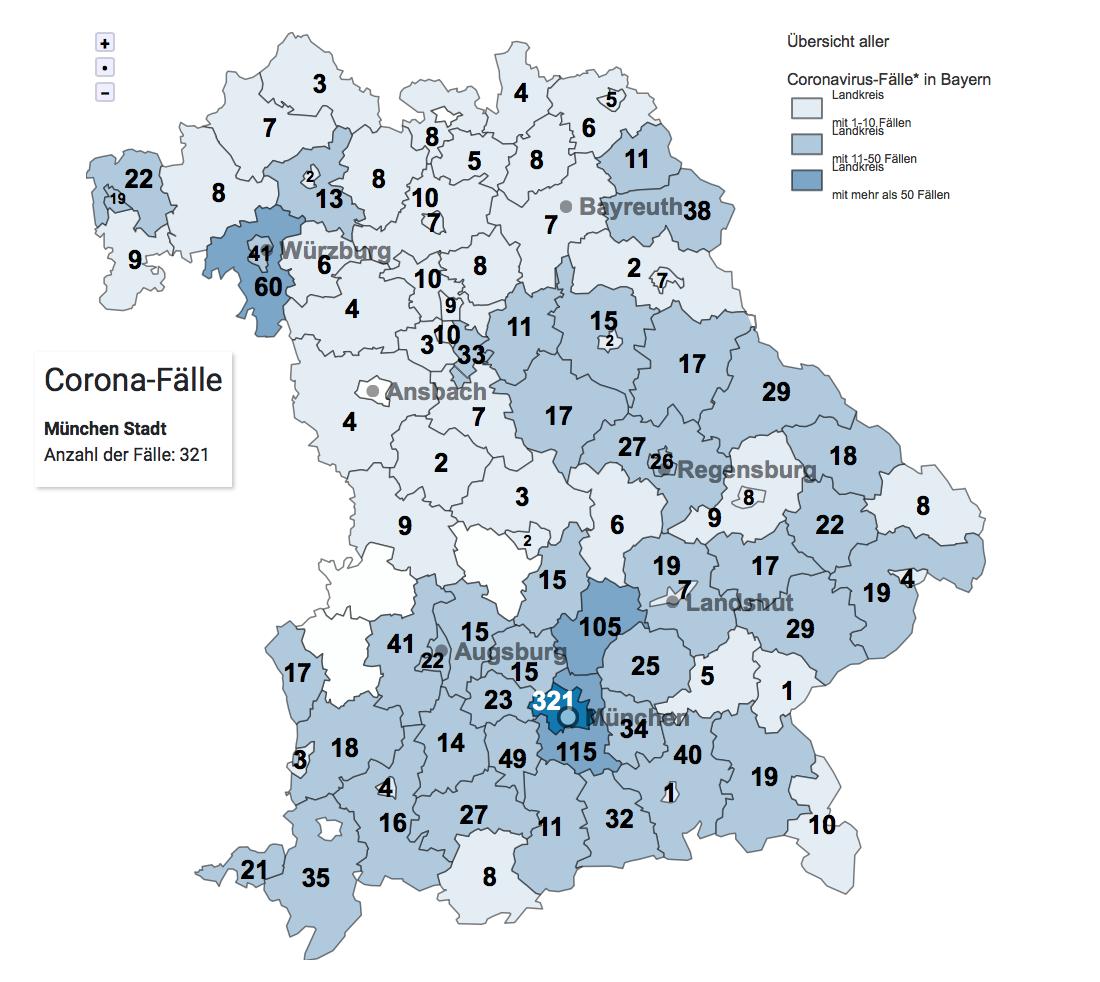 Corona Zahlen Bayern Karte