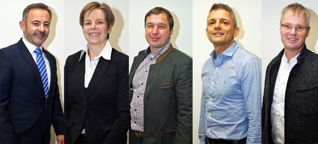 Textfeld: Der Vorstand von Team Sport-Bayern (v.l.): Dr. Alfons Hölzl, Eva Straub, Florian Geiger, Armin Zimmermann und Gerd Kohlhofer